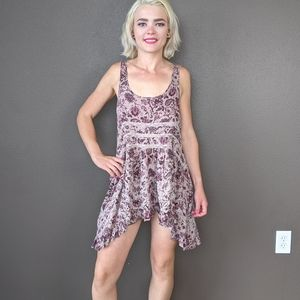 Free People S taupe paisley print lace slip dress